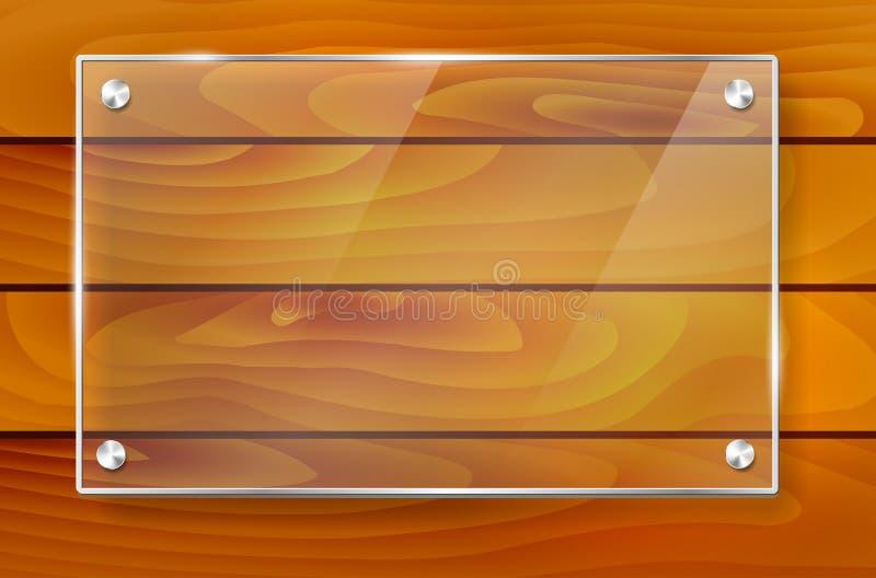 透明发光的玻璃框架和木背景 皇族释放例证