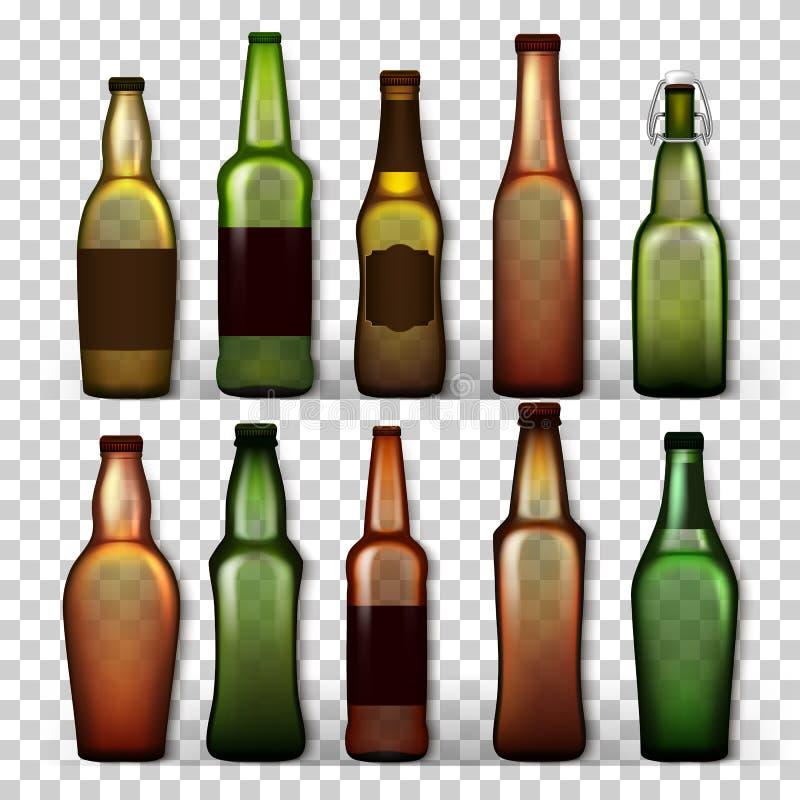 透明啤酒瓶设置了传染媒介 工艺啤酒绿色的,黄色,布朗另外空的玻璃 大模型空白模板 向量例证