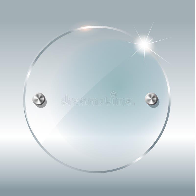 透明圆的圈子 把在方格的背景的元素进行下去 与反射和阴影的塑料横幅 玻璃 库存例证