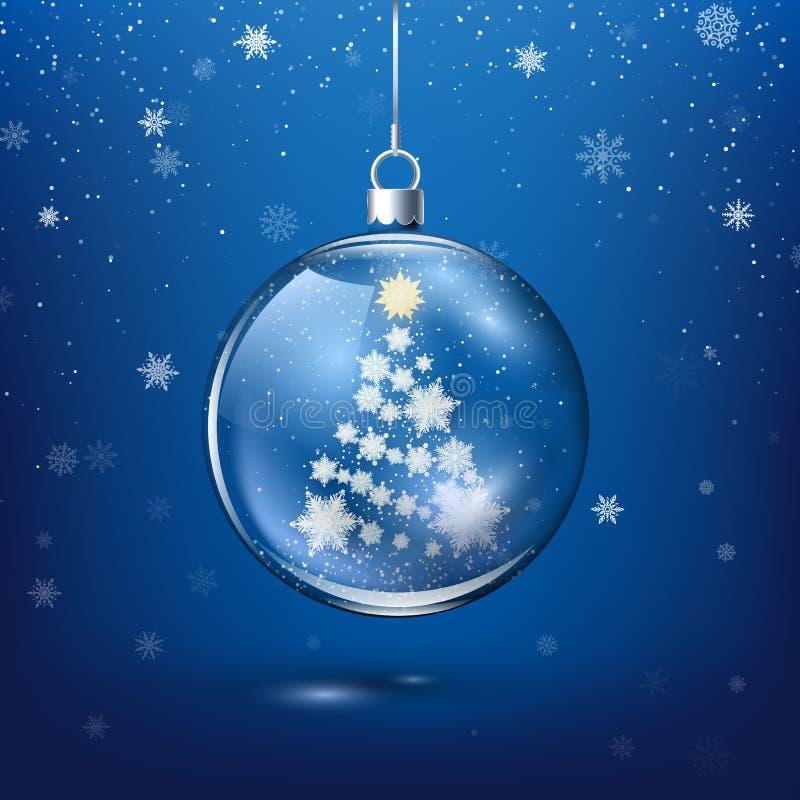 透明圣诞装饰 — 纸雪片内新年树影 背景中的节日降雪 皇族释放例证