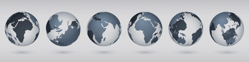 透明地球地球 与美国欧罗巴亚洲,简单的抽象3D地球模型的现实圈子世界地图 ?? 皇族释放例证