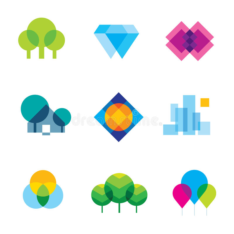 透明城市商标风景秀丽马赛克几何象集合 向量例证