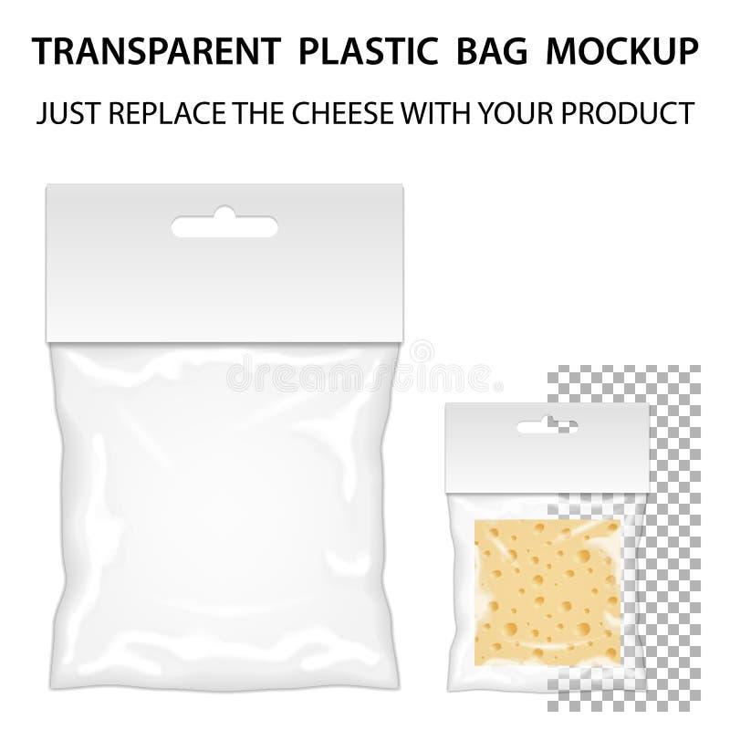 透明塑料袋大模型准备好您的设计 空白装箱 库存例证
