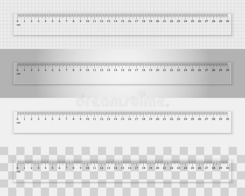透明塑料统治者30厘米 向量例证