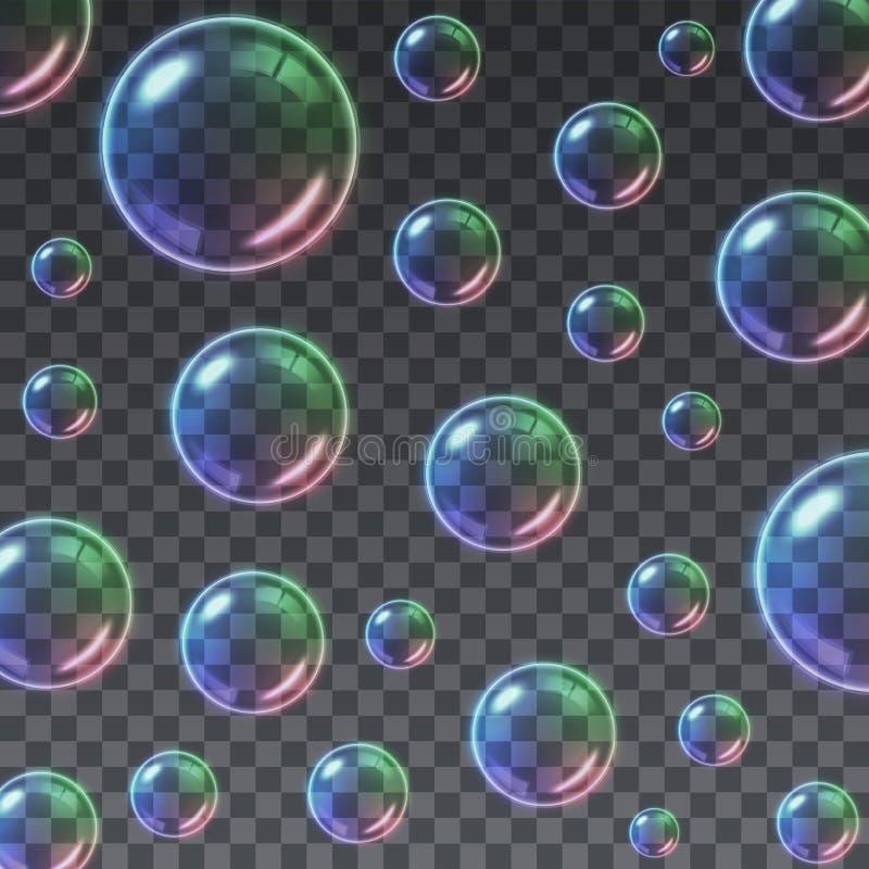 透明多彩多姿的肥皂泡背景 库存例证