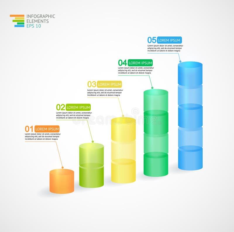 透明多色上升的图表 库存例证