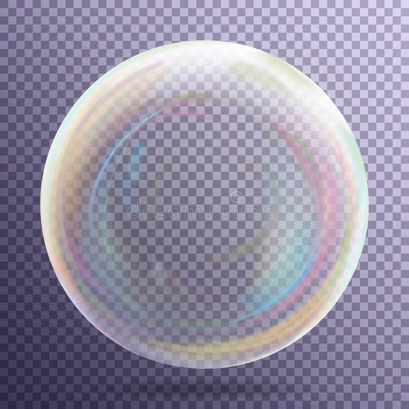 透明度泡影 肥皂或水中或者水泡影 在灰色背景的传染媒介例证 向量例证