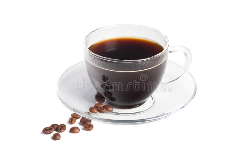 透明无奶咖啡的杯子 库存照片