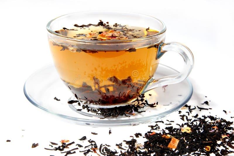 透明杯子的茶 免版税库存图片