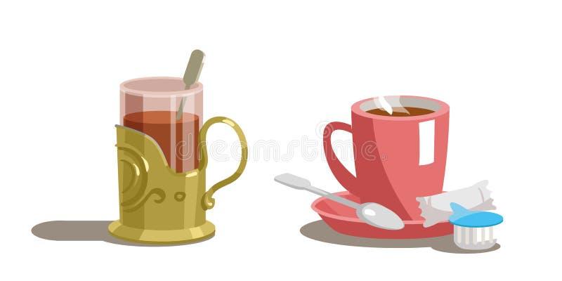 透明杯茶和咖啡在一个茶碟的有匙子的 库存例证