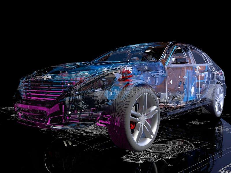 透明模型汽车 库存例证