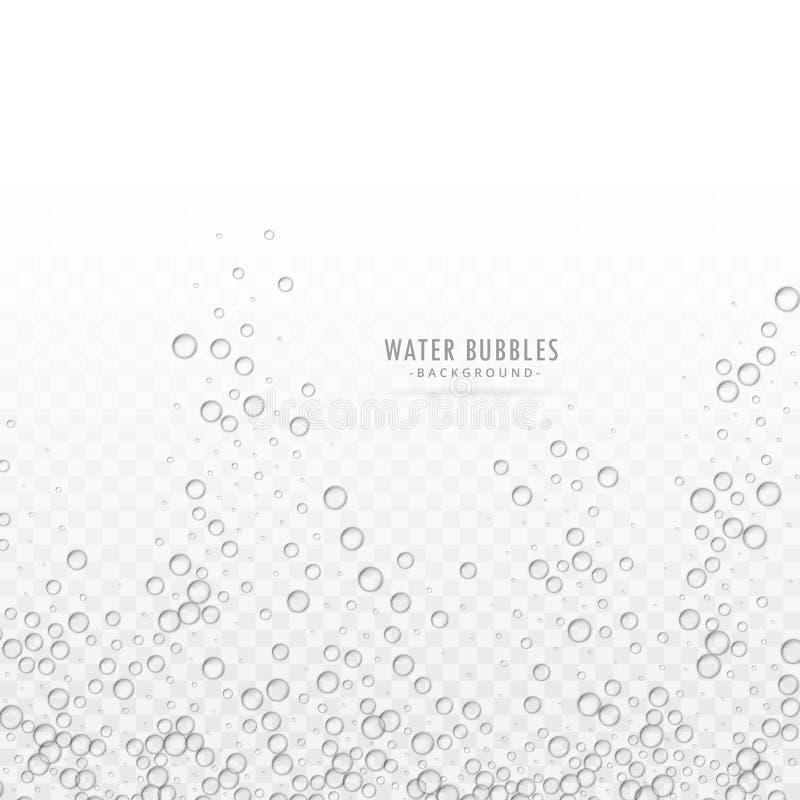 透明水起泡在白色背景的传染媒介 库存例证
