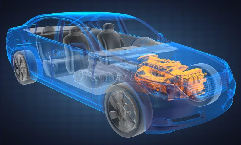 透明汽车的概念 库存例证