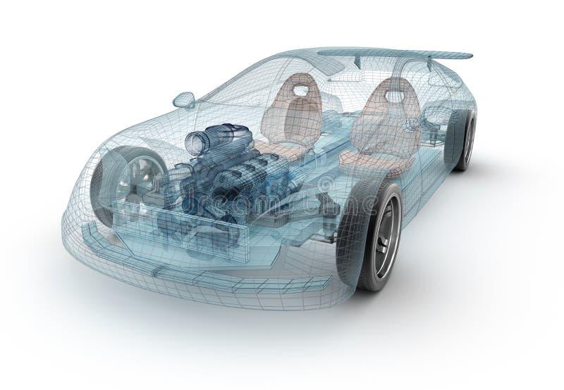 透明汽车设计,导线模型 向量例证