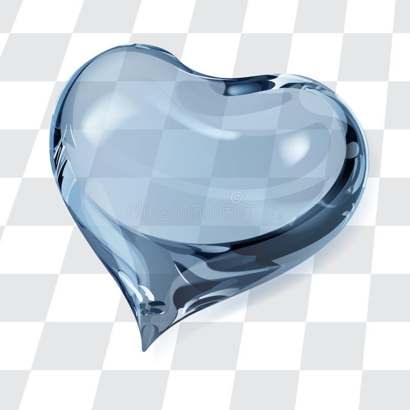 透明浅兰的心脏 向量例证