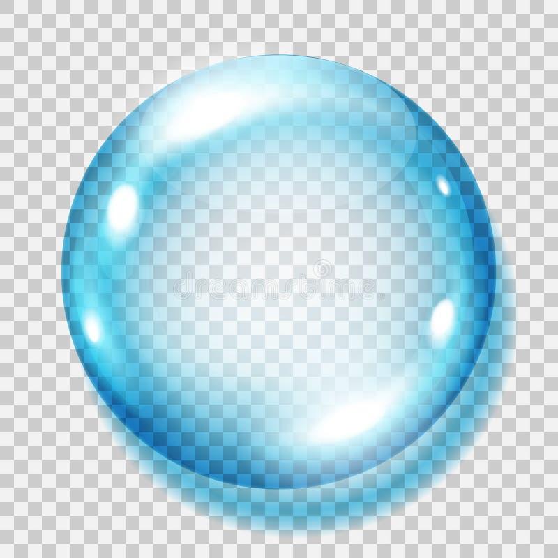 透明浅兰的球形 库存例证