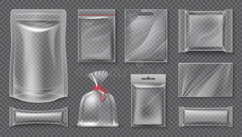塑料包裹 透明现实囊大模型,空白的3d食物组装,空的塑料箔模板 传染媒介快餐袋子 库存例证