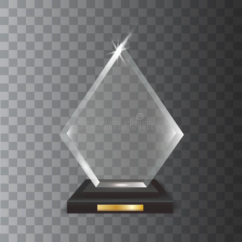 透明现实空白的传染媒介丙烯酸玻璃战利品奖 皇族释放例证