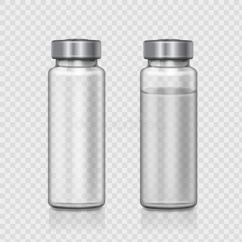 透明玻璃医疗细颈瓶 可实现的向量例证 皇族释放例证