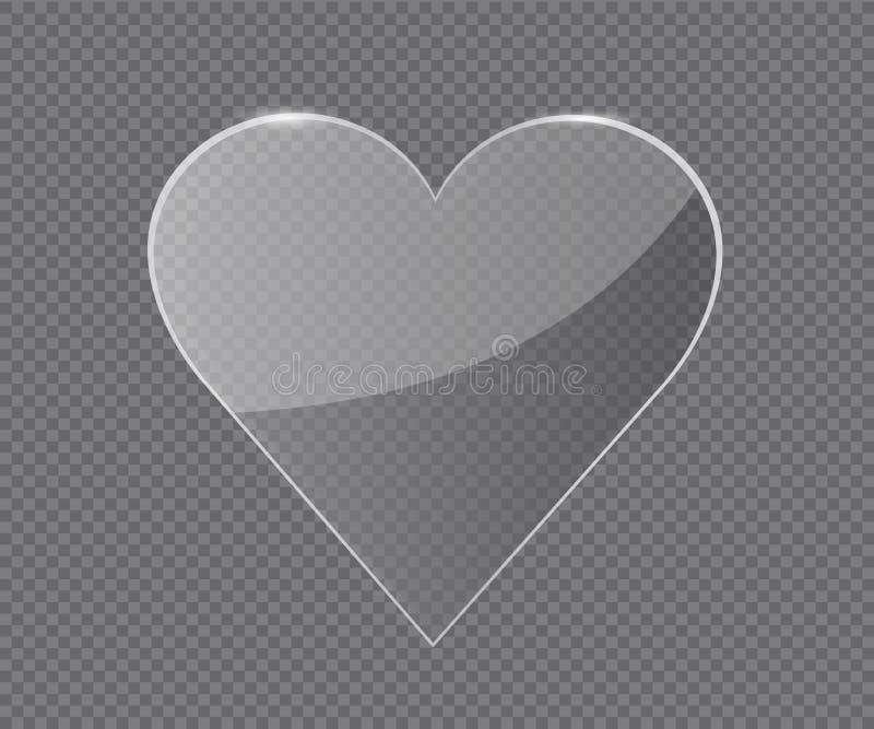 透明玻璃心脏 向量例证