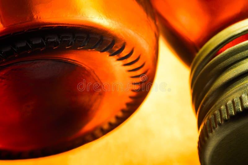 透明玻璃瓶子的明亮的温暖的构成宏指令,软的焦点 免版税库存图片