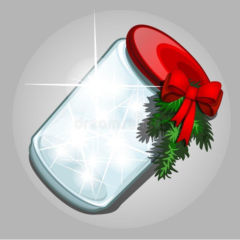 透明瓶子与一种光亮气体物质的玻璃与在灰色背景隔绝的闪耀的发光的火花 库存例证