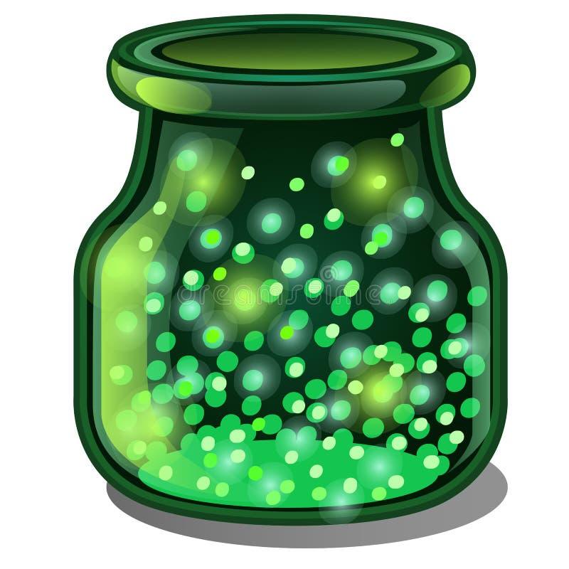 透明瓶子与一种光亮气体物质的绿色玻璃在白色背景 也corel凹道例证向量 向量例证