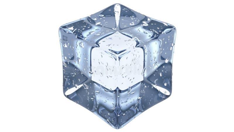 透明的人为丙烯酸酯的冰块方形的形状 3d在白色背景回报 免版税库存图片