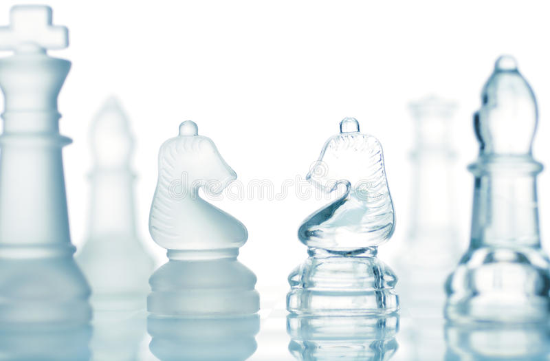 透明的棋 免版税库存图片