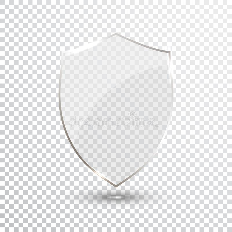 透明盾 安全玻璃徽章象 保密性卫兵横幅 保护盾概念 装饰安全元素 防御S 皇族释放例证