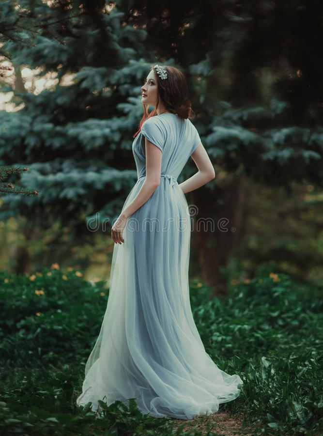 透明礼服的女孩 免版税库存图片