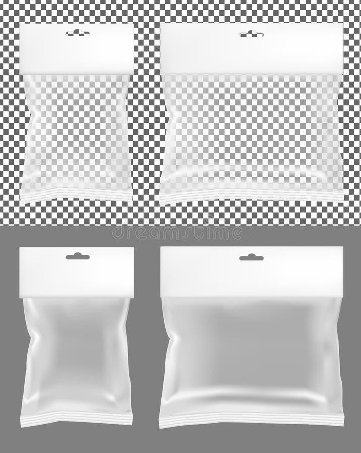 透明空塑料封装 有吊槽孔的空白的香囊 皇族释放例证