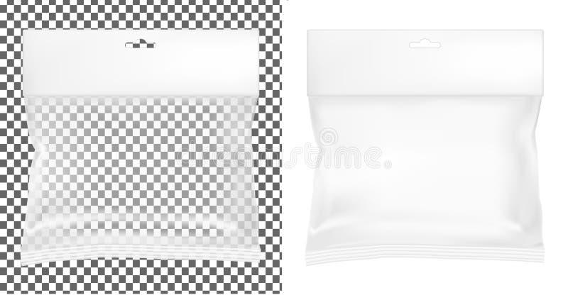 透明空塑料封装 有吊槽孔的空白的香囊 库存例证