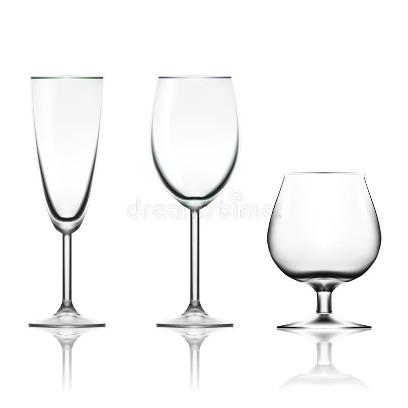 透明空的酒、香宾和在白色隔绝的科涅克白兰地玻璃 免版税图库摄影