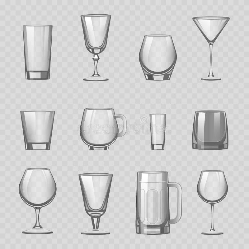 透明空的玻璃和器皿饮料翻转者抢劫杯子水库船现实传染媒介例证 向量例证