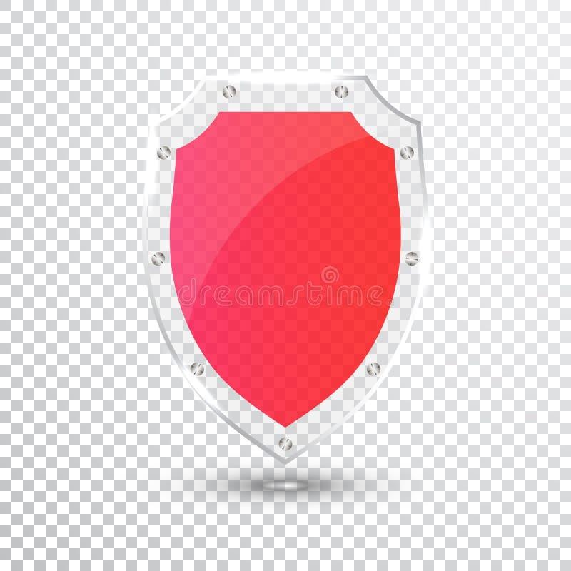 透明红色盾 安全玻璃徽章象 保密性卫兵横幅 保护盾概念 装饰安全元素 Defen 向量例证