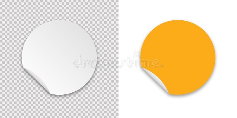 透明背景上贴纸的贴纸真实模板 标签标签图标 分离的矢量模型 Paper sheet 库存例证