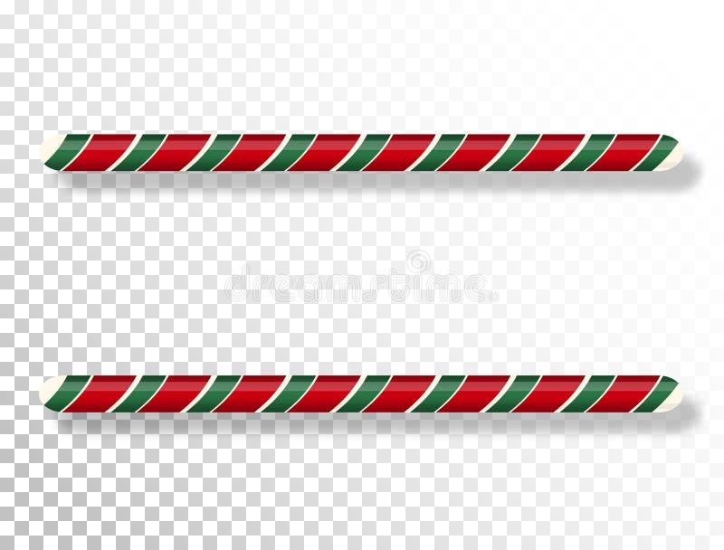 透明背景中突显的甘蔗边界 圣诞框架 鲜红绿扭曲糖果 冬 向量例证