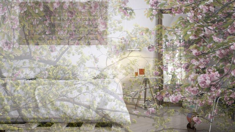 透明花卉背景,在现代当代卧室,概念生态内部 库存照片