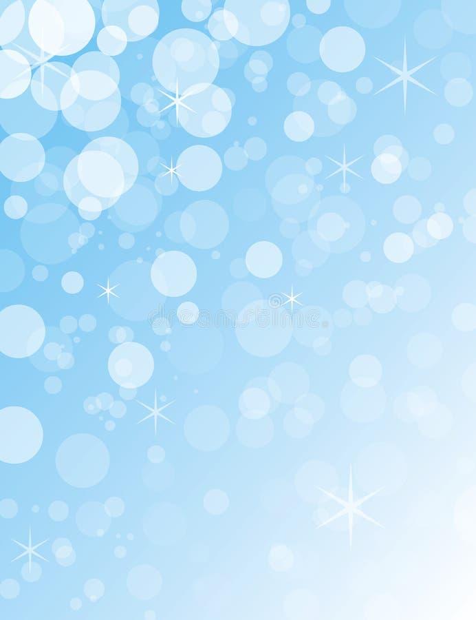 透明蓝色和白色圣诞节bokeh球 免版税库存照片