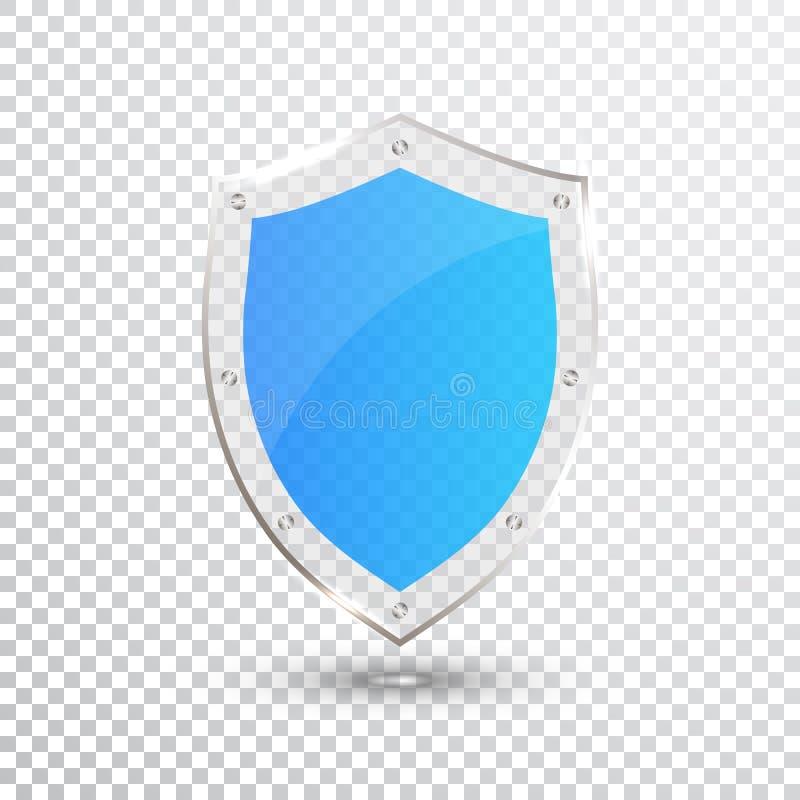 透明蓝色盾 安全玻璃徽章象 保密性卫兵横幅 保护盾概念 装饰安全元素 Defe 库存例证