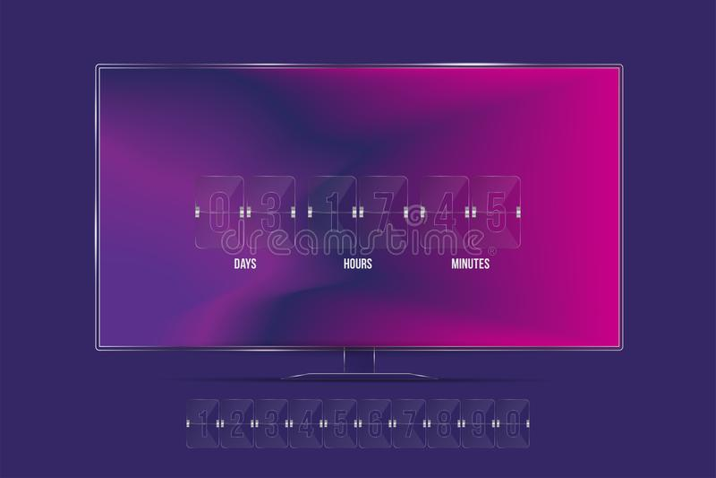 透明读秒定时器和时钟计数器在电视屏幕上和与数集 平的例证Eps 10 向量例证