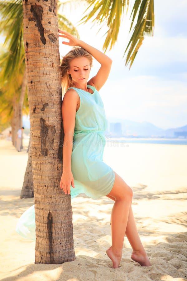 Download 透明连衣裙的白肤金发的女孩在棕榈树干倾斜 库存照片. 图片 包括有 长期, 火箭筒, 魅力, 掌上型计算机 - 59103692