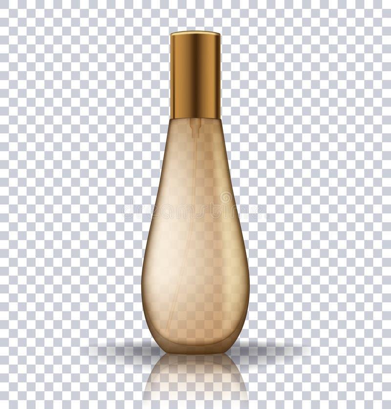 透明金香水化妆用品瓶 化妆产品的现实传染媒介例证 皇族释放例证