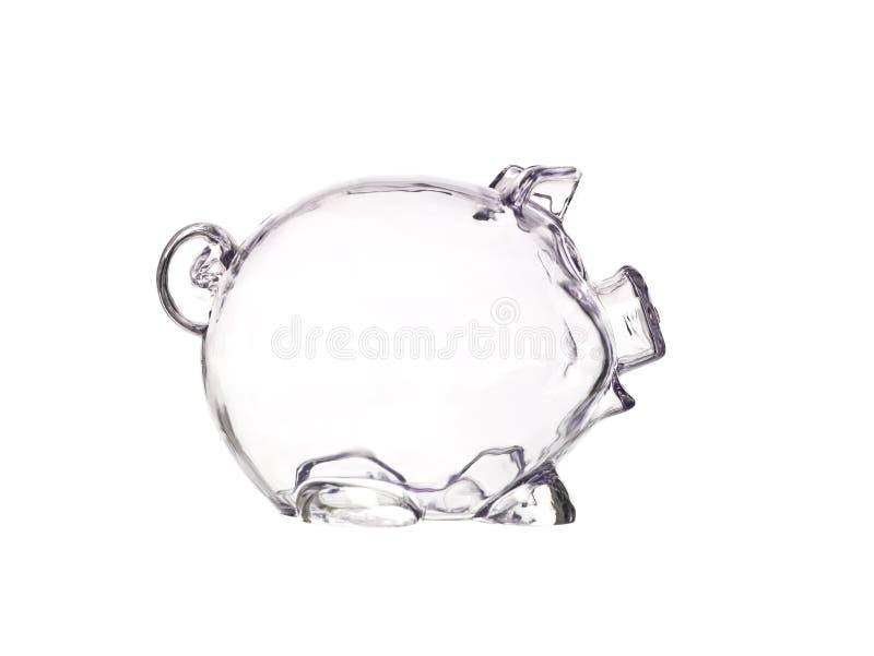 透明银行的猪 免版税库存照片