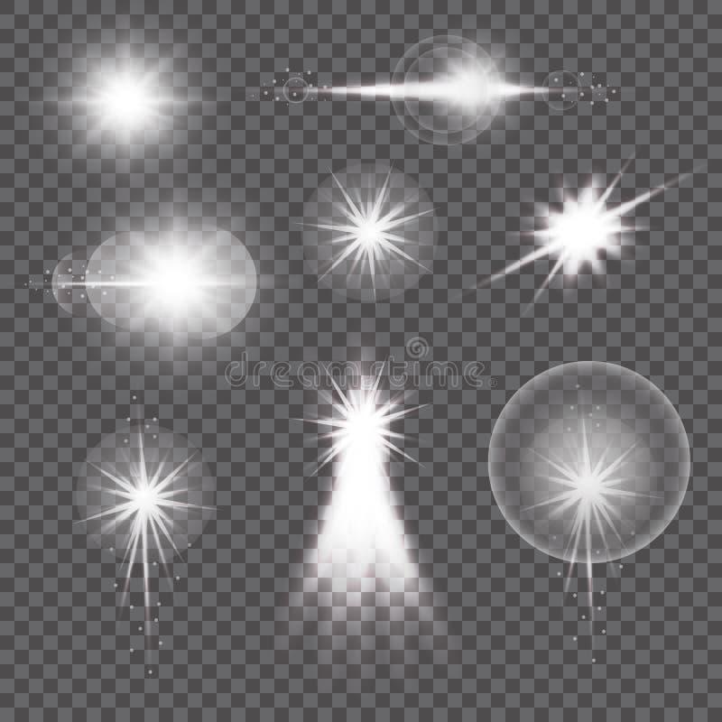 透明阳光透镜火光光线影响 与闪闪发光的星爆炸 也corel凹道例证向量 皇族释放例证