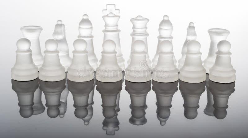 与反射的透明玻璃棋子 库存图片