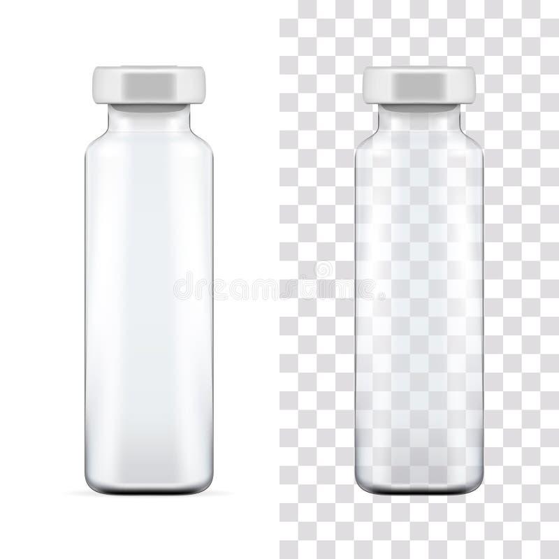 透明玻璃医疗细颈瓶模板有铝盖帽的 包装的收藏 也corel凹道例证向量 皇族释放例证