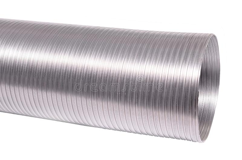 透气设备的灵活的铝管道 查出在白色 库存照片