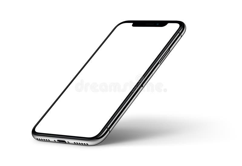 透视与阴影CW的智能手机大模型在白色背景转动了 皇族释放例证